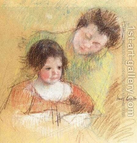 Reine Leaning Over Margots Shoulder by Mary Cassatt - Reproduction Oil Painting