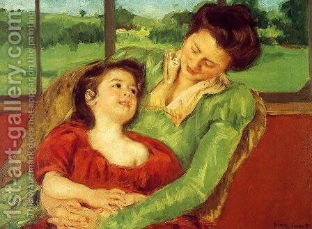 Reine Lefebre And Margot Before A Window by Mary Cassatt - Reproduction Oil Painting
