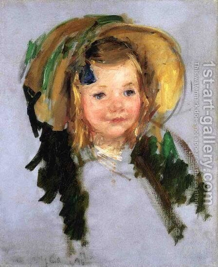 Sara In A Bonnet by Mary Cassatt - Reproduction Oil Painting
