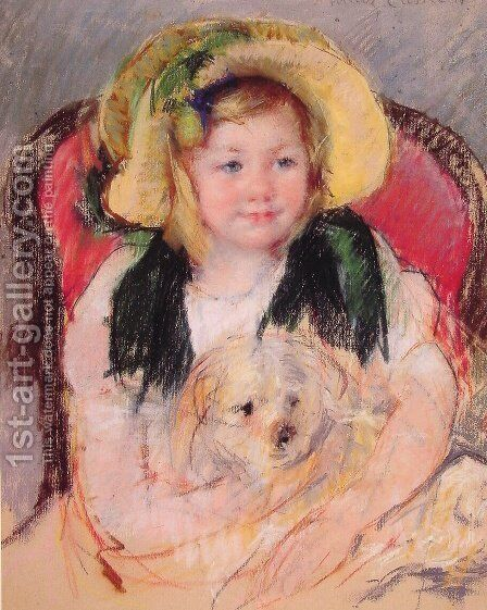 Sara With Her Dog  In An Armchair  Wearing A Bonnet With A Plum Ornament by Mary Cassatt - Reproduction Oil Painting