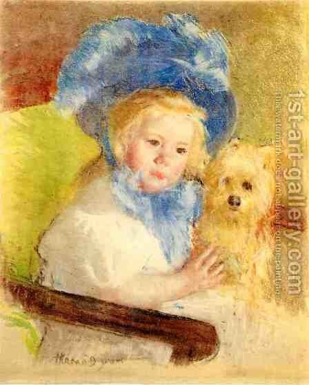 Simone In A Large Plumed Hat  Seated  Holding A Griffon Dog by Mary Cassatt - Reproduction Oil Painting