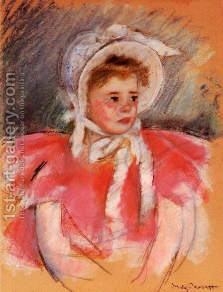 Simone In White Bonnet Seated With Clasped Hands by Mary Cassatt - Reproduction Oil Painting