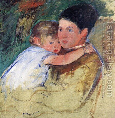 Sketch Of Anne And Her Nurse by Mary Cassatt - Reproduction Oil Painting