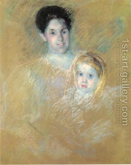 Smiling Mother With Sober Faced Child by Mary Cassatt - Reproduction Oil Painting