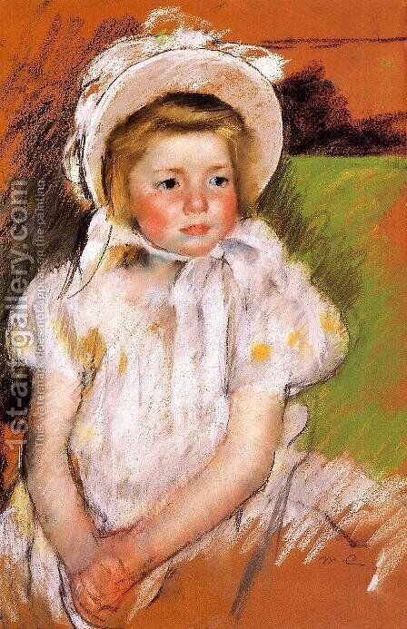 Somone In A White Bonnet by Mary Cassatt - Reproduction Oil Painting