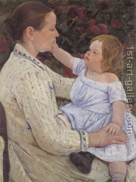 The Childs Caress by Mary Cassatt - Reproduction Oil Painting