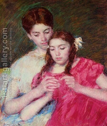 The Crochet Lesson by Mary Cassatt - Reproduction Oil Painting