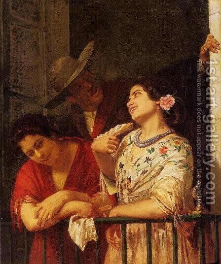 The Flirtation   A Balcony In Seville by Mary Cassatt - Reproduction Oil Painting