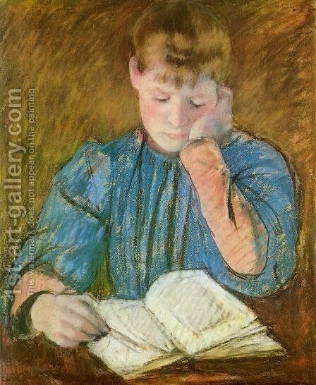 The Pensive Reader by Mary Cassatt - Reproduction Oil Painting