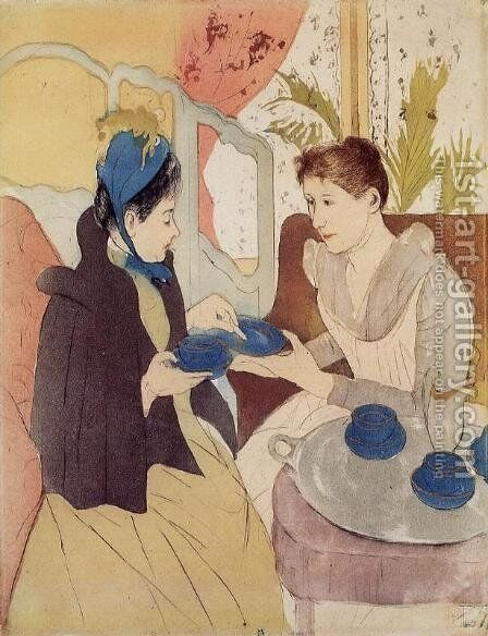 The Visit by Mary Cassatt - Reproduction Oil Painting