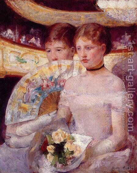 Two Women In A Theater Box by Mary Cassatt - Reproduction Oil Painting