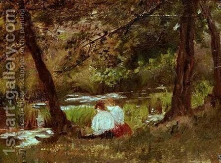 Two Women Seated By A Woodland Stream by Mary Cassatt - Reproduction Oil Painting