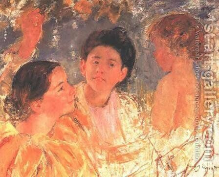Two Young Girls With A Child by Mary Cassatt - Reproduction Oil Painting