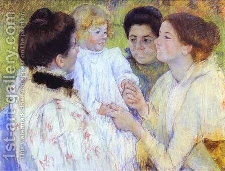 Woman Admiring A Child by Mary Cassatt - Reproduction Oil Painting