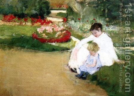 Woman And Child Seated In A Garden by Mary Cassatt - Reproduction Oil Painting