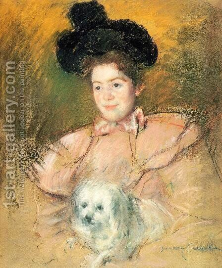 Woman In Raspberry Costume Holding A Dog by Mary Cassatt - Reproduction Oil Painting