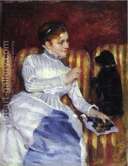 Woman On A Striped With A Dog Aka Young Woman On A Striped Sofa With Her Dog by Mary Cassatt - Reproduction Oil Painting