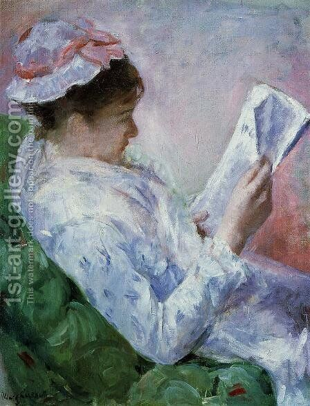 Woman Reading by Mary Cassatt - Reproduction Oil Painting