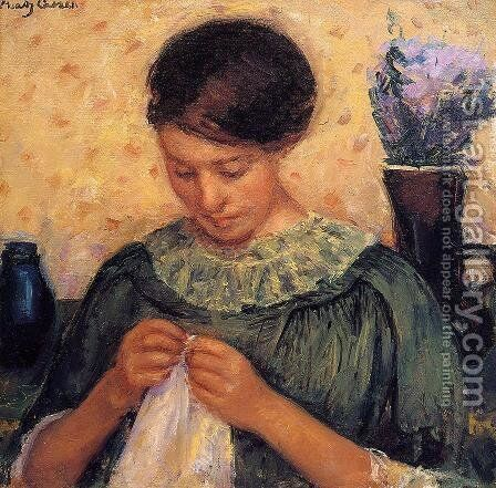 Woman Sewing by Mary Cassatt - Reproduction Oil Painting