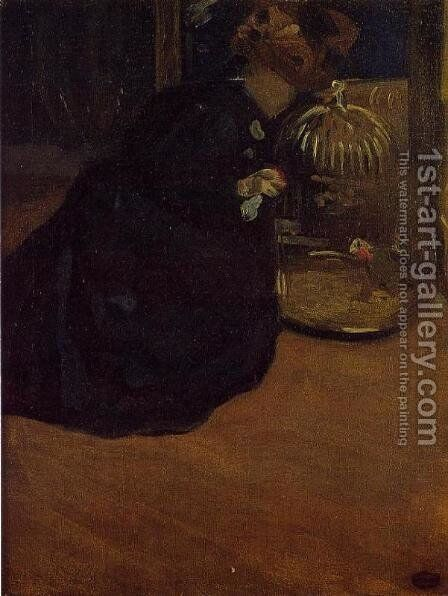 Woman With A Parakeet by Mary Cassatt - Reproduction Oil Painting
