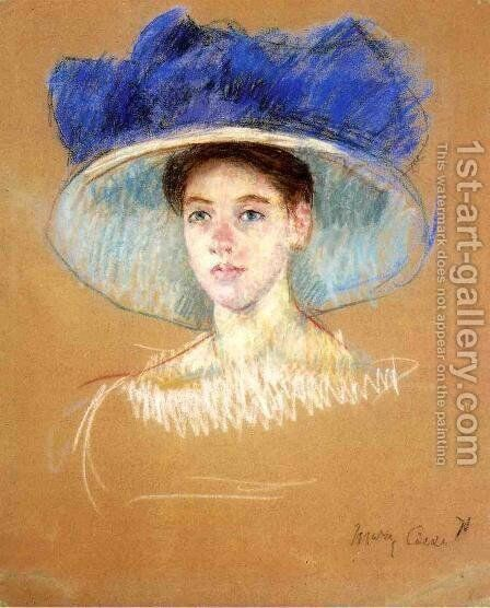 Womans Head With Large Hat by Mary Cassatt - Reproduction Oil Painting