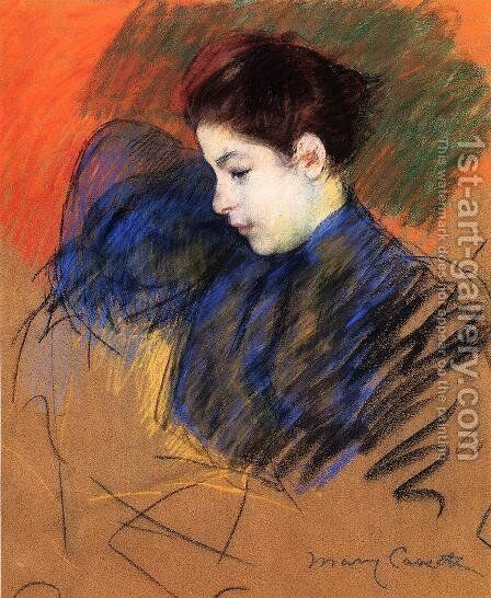 Young Woman Reflecting by Mary Cassatt - Reproduction Oil Painting