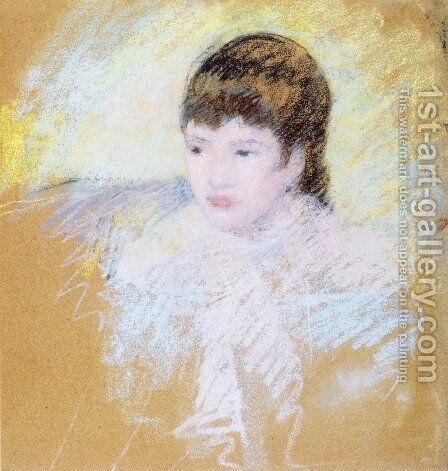 Young Girl With Brown Hair  Looking To Left by Mary Cassatt - Reproduction Oil Painting