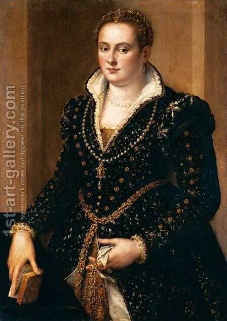 Portrait of a Noble Woman by Alessandro Allori - Reproduction Oil Painting