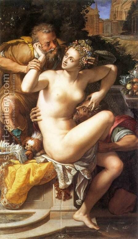 Susanna and The Elders by Alessandro Allori - Reproduction Oil Painting