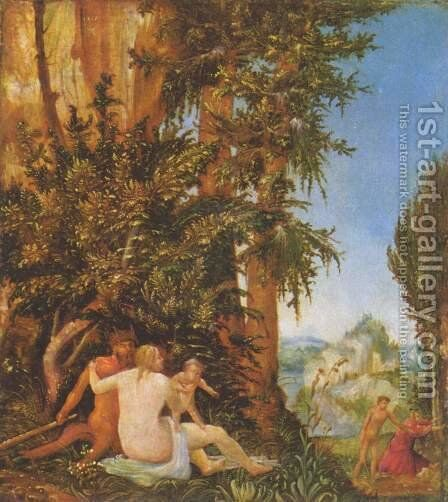 Landscape with Satyr Family 1507 by Albrecht Altdorfer - Reproduction Oil Painting