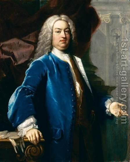 Portrait of a Gentlemen in Blue Jacket by Jacopo (Giacomo) Amigoni - Reproduction Oil Painting