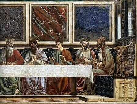 Last Supper (detail 3) 1447 by Andrea Del Castagno - Reproduction Oil Painting