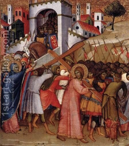 Christ on the Road to Calvary 1415, 55 x 49 cm by Andrea Di Bartolo - Reproduction Oil Painting