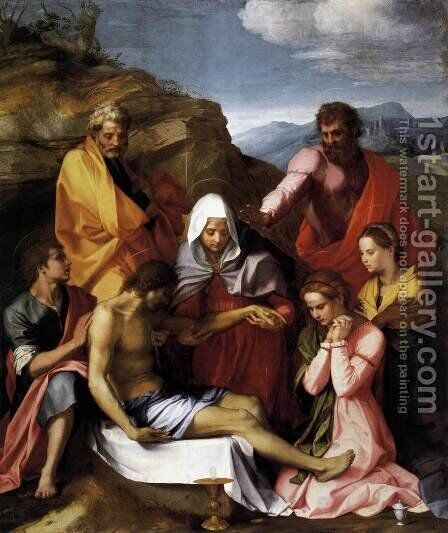 Pietà with Saints 1523 by Andrea Del Sarto - Reproduction Oil Painting