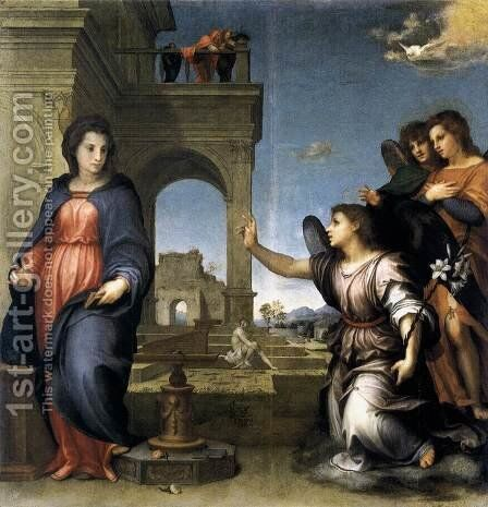 The Annunciation 1512 by Andrea Del Sarto - Reproduction Oil Painting