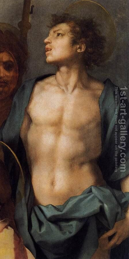 Virgin and Child in Glory with Six Saints (detail) 1528 by Andrea Del Sarto - Reproduction Oil Painting