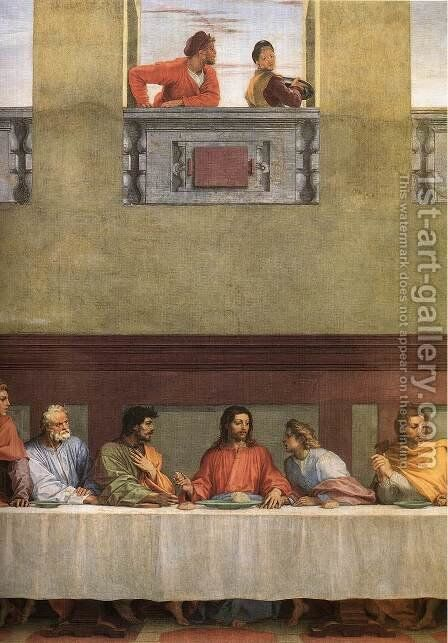 The Last Supper (detail 1) 1520 by Andrea Del Sarto - Reproduction Oil Painting
