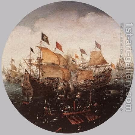 Sea Battle between Dutch and Spanish Boats 1604 by Aert Anthonisz - Reproduction Oil Painting