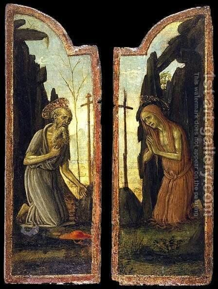 St Jerome and St Mary of Egypt by Arcangelo Di Jacopo Del Sellaio - Reproduction Oil Painting