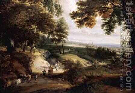 Wooded Landscape by Jacques d' Arthois - Reproduction Oil Painting