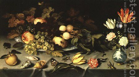 Flowers and Fruit 1620 by Balthasar Van Der Ast - Reproduction Oil Painting