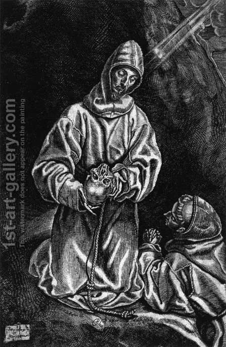 St Francis and Brother Leo Meditating on Death 1606 by Diego De Astor - Reproduction Oil Painting