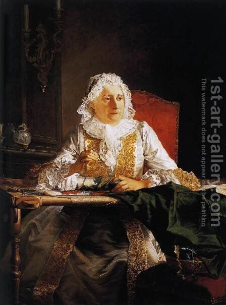Madame Crozat 1754 by Jacques-André-Joseph Aved - Reproduction Oil Painting