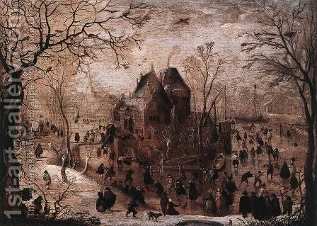 Winter Landscape 1605-10 by Hendrick Avercamp - Reproduction Oil Painting