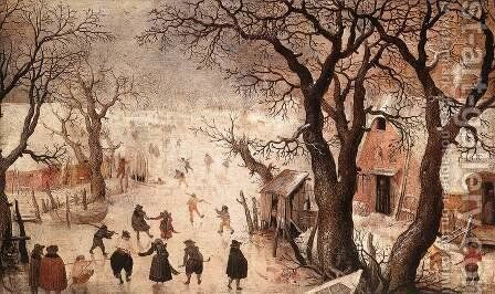 Winter Landscape 2 by Hendrick Avercamp - Reproduction Oil Painting