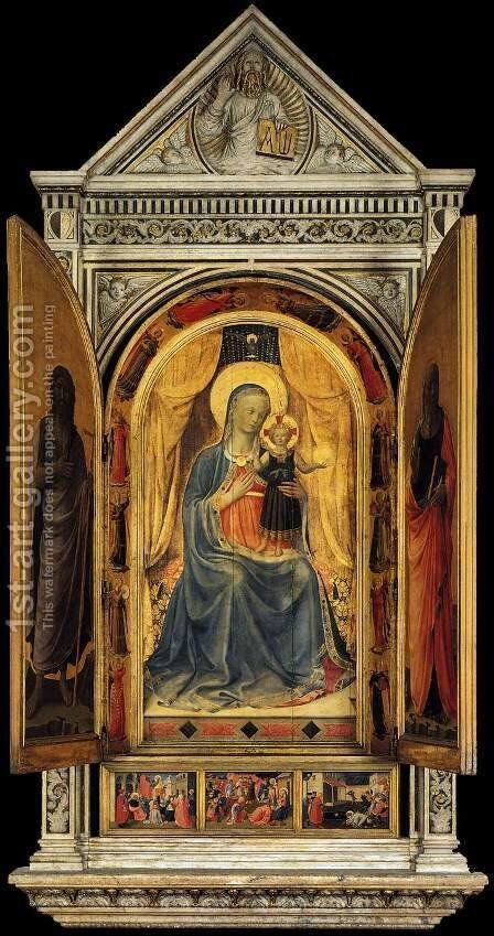 Linaioli Tabernacle (shutters open) 1433 by Angelico Fra - Reproduction Oil Painting