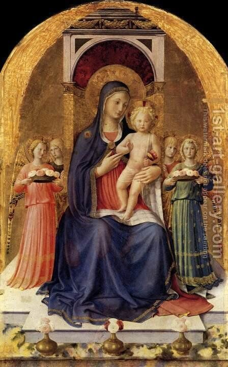 Perugia Altarpiece (central panel) 1437 by Angelico Fra - Reproduction Oil Painting