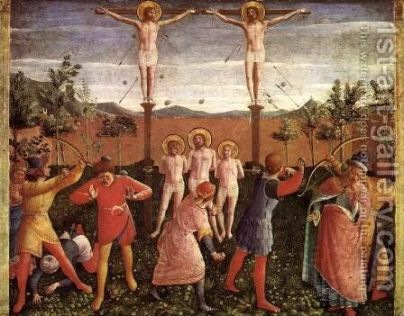 Saint Cosmas and Saint Damian Crucifixed and Stoned 1438 by Angelico Fra - Reproduction Oil Painting