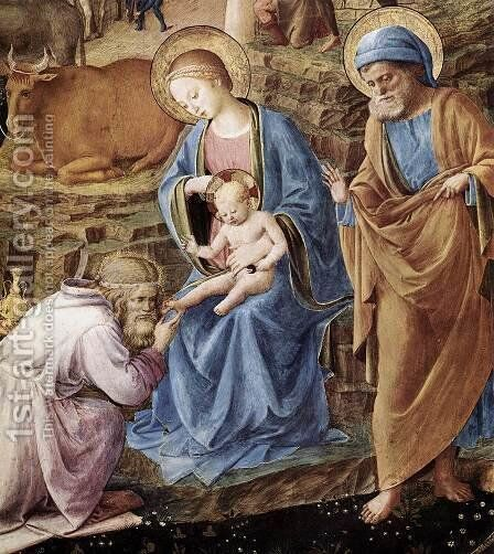 The Adoration of the Magi (detail) 1445 by Angelico Fra - Reproduction Oil Painting