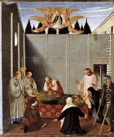 The Story of St Nicholas, The Death of the Saint (detail)  1437 by Angelico Fra - Reproduction Oil Painting
